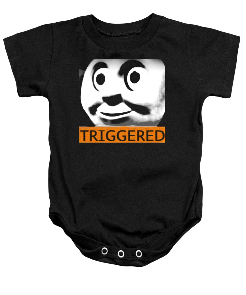 Train Baby Onesie featuring the digital art Triggered by Bridgitte Jodie