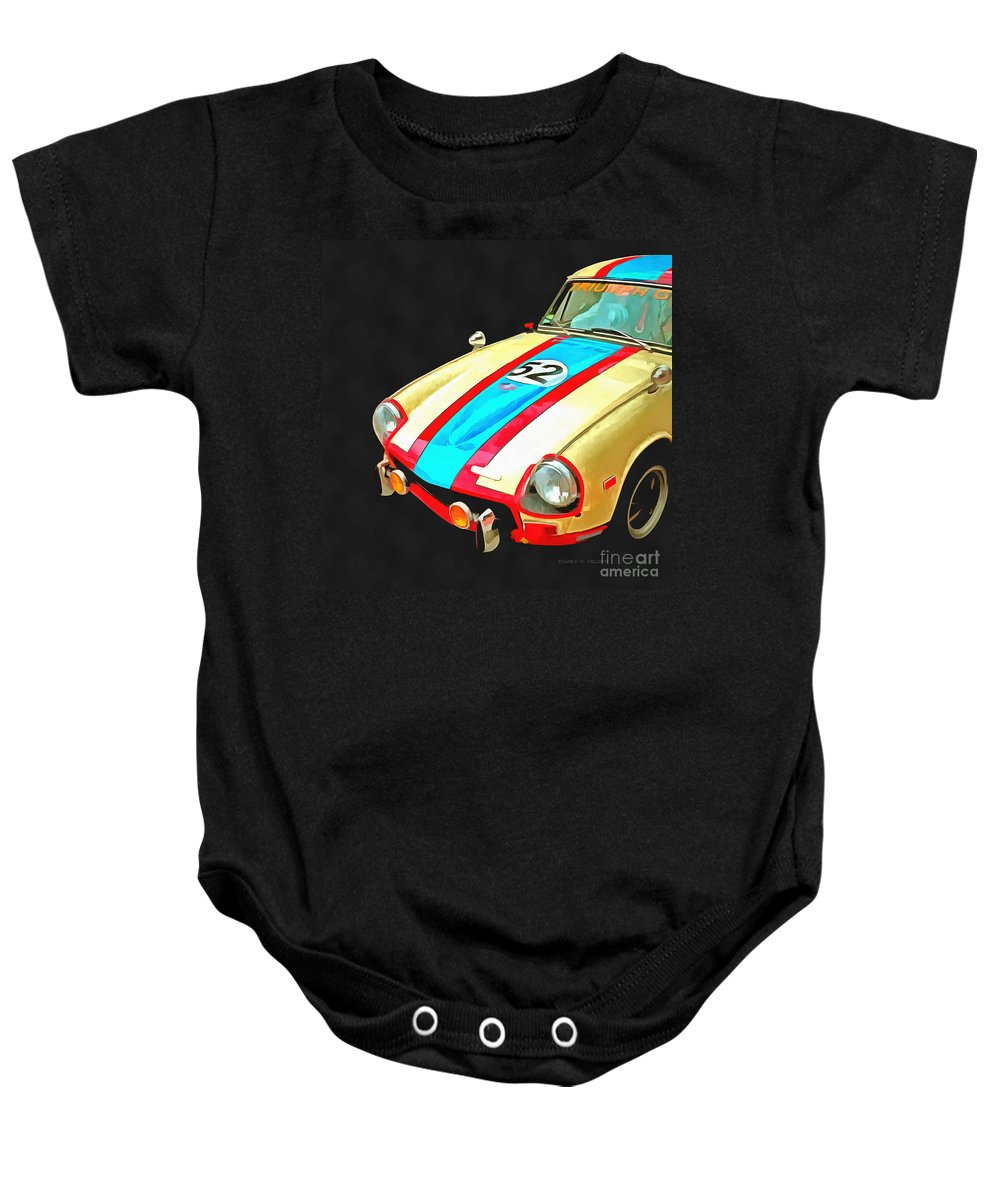 Car Baby Onesie featuring the photograph Triumph Gt Pop Art by Edward Fielding