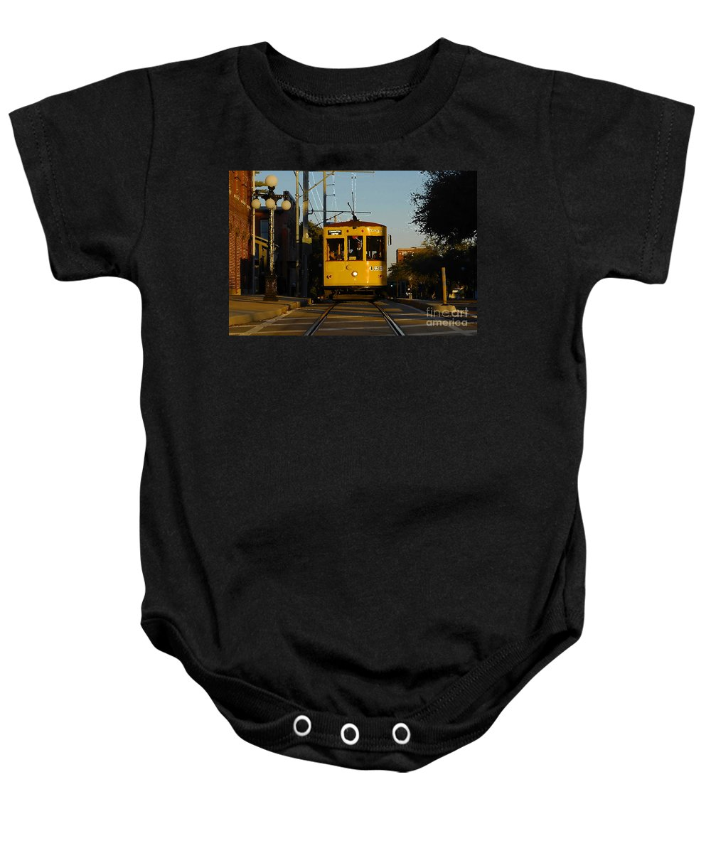Trolley Baby Onesie featuring the photograph Trolley Ride by David Lee Thompson