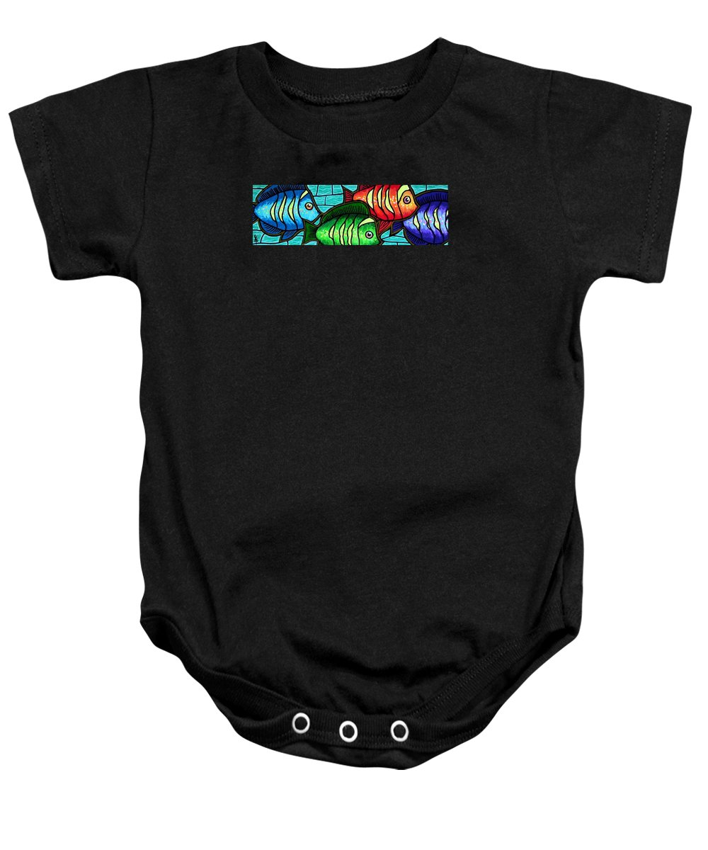 Tropics Baby Onesie featuring the painting Tropic Swim by Jim Harris