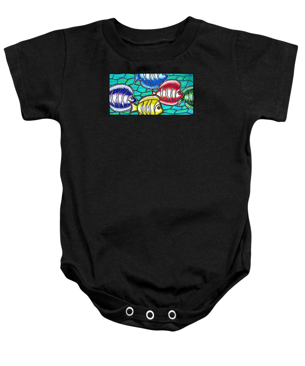 Fish Baby Onesie featuring the painting Tropical Fish Swim by Jim Harris
