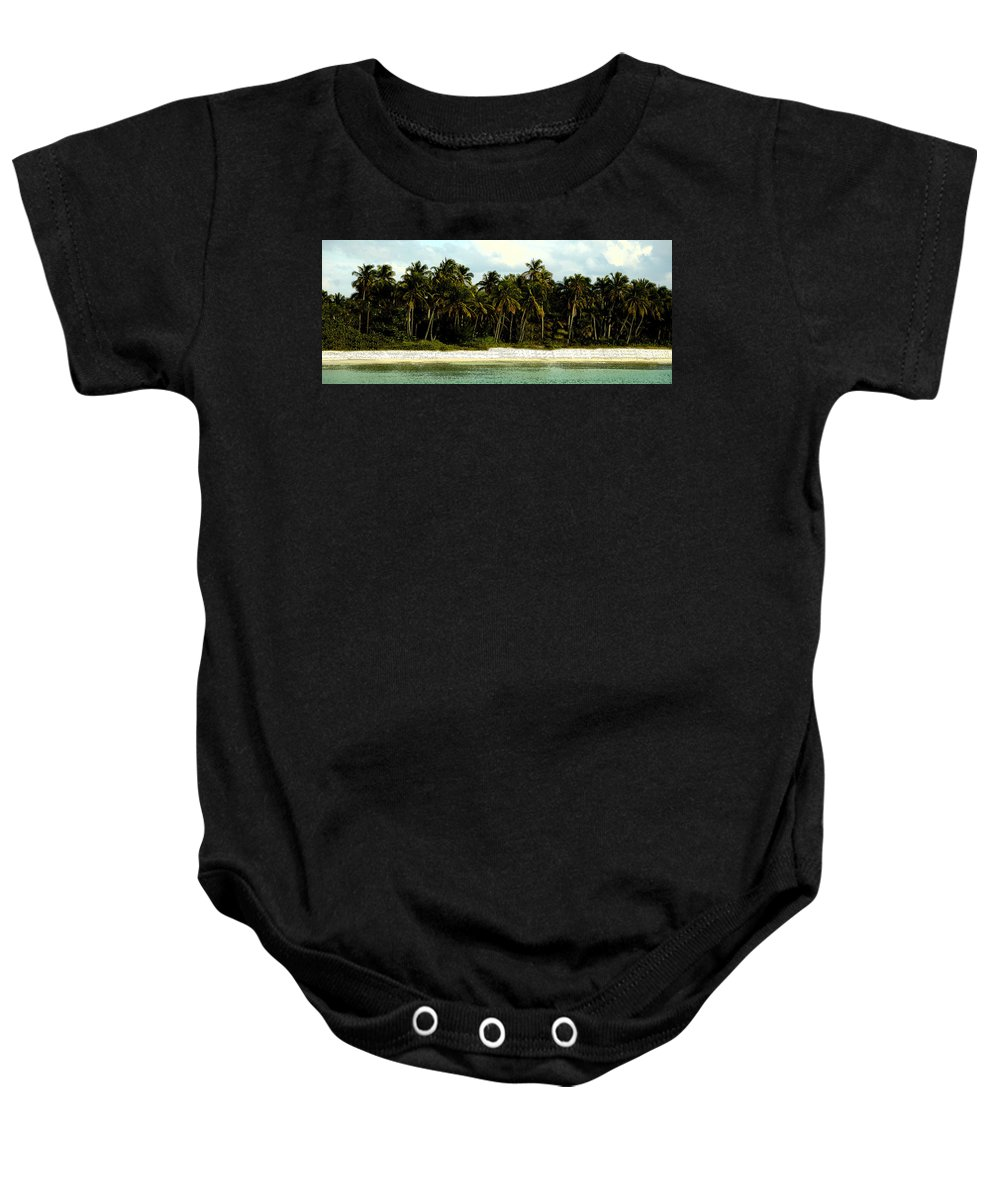 Tropical Baby Onesie featuring the painting Tropical Island by David Lee Thompson
