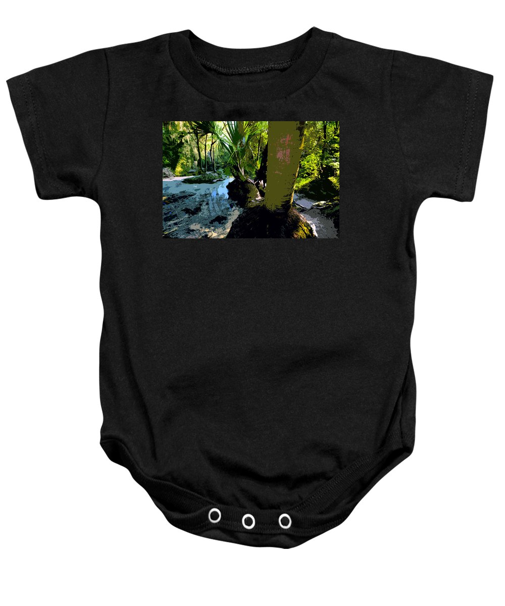 Tropical Baby Onesie featuring the painting Tropical Spring by David Lee Thompson
