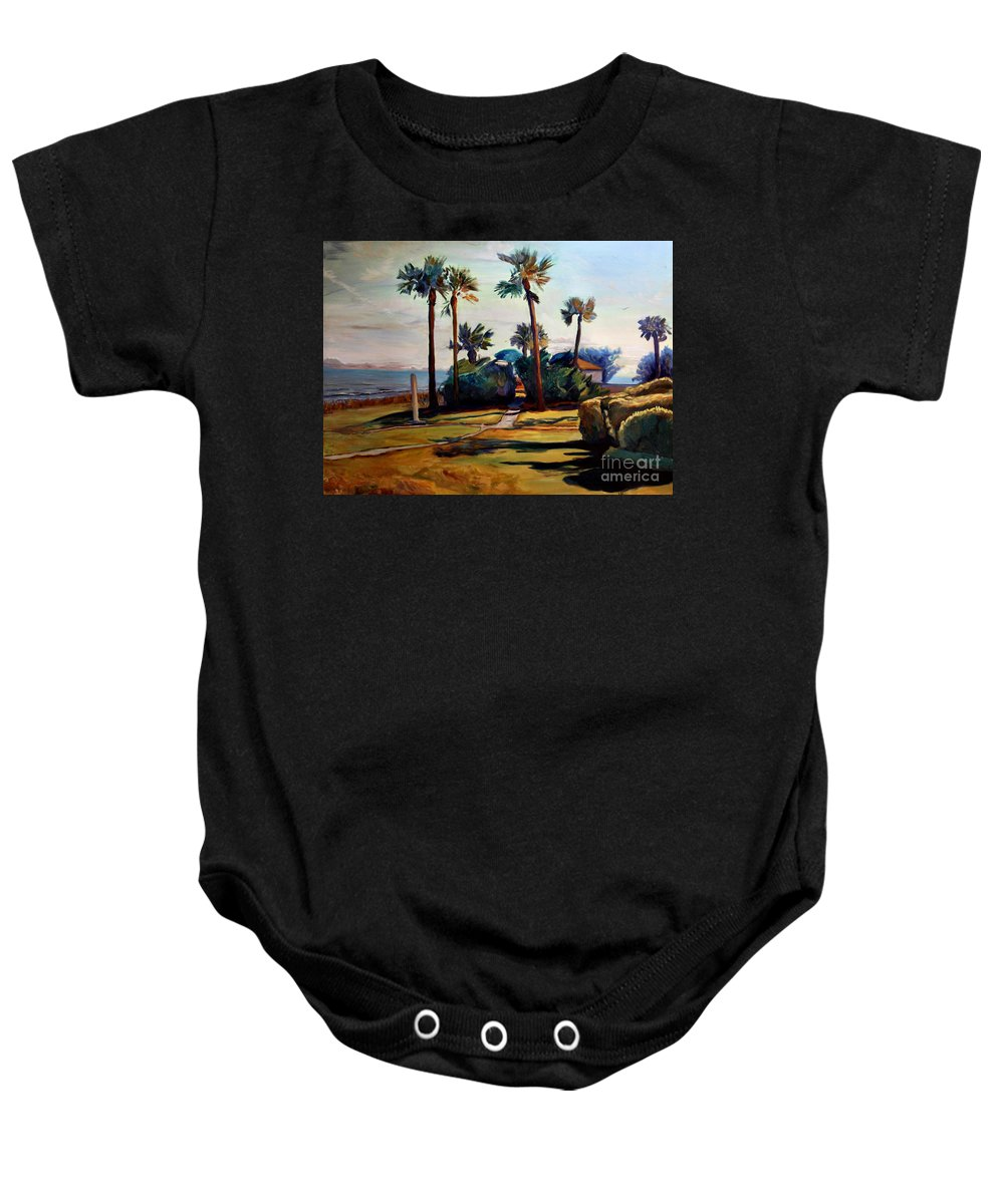 Painting Baby Onesie featuring the painting Tropical Sunshine by Maris Salmins