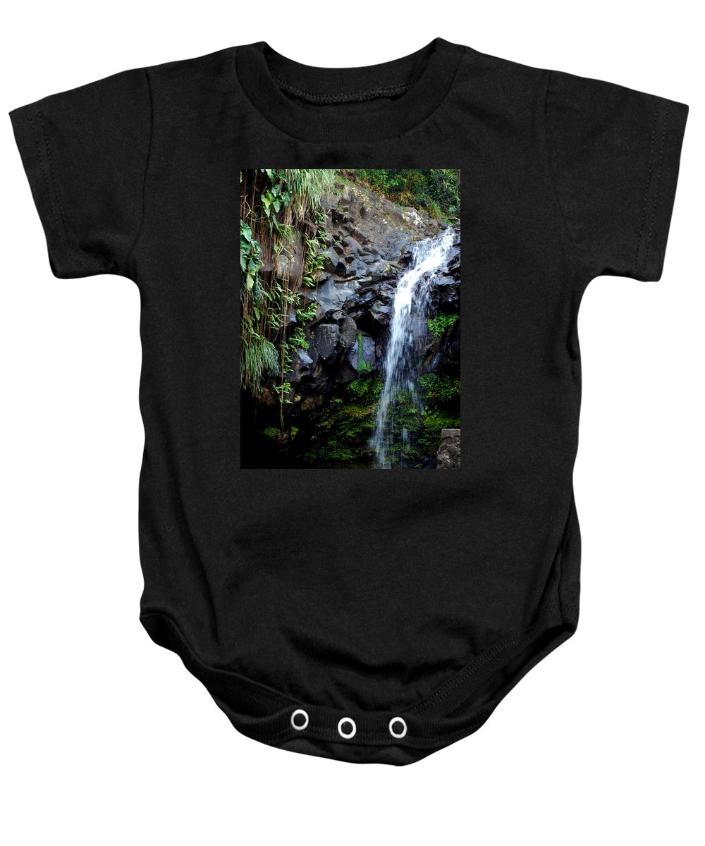 Waterfall Baby Onesie featuring the photograph Tropical Waterfall by Gary Wonning