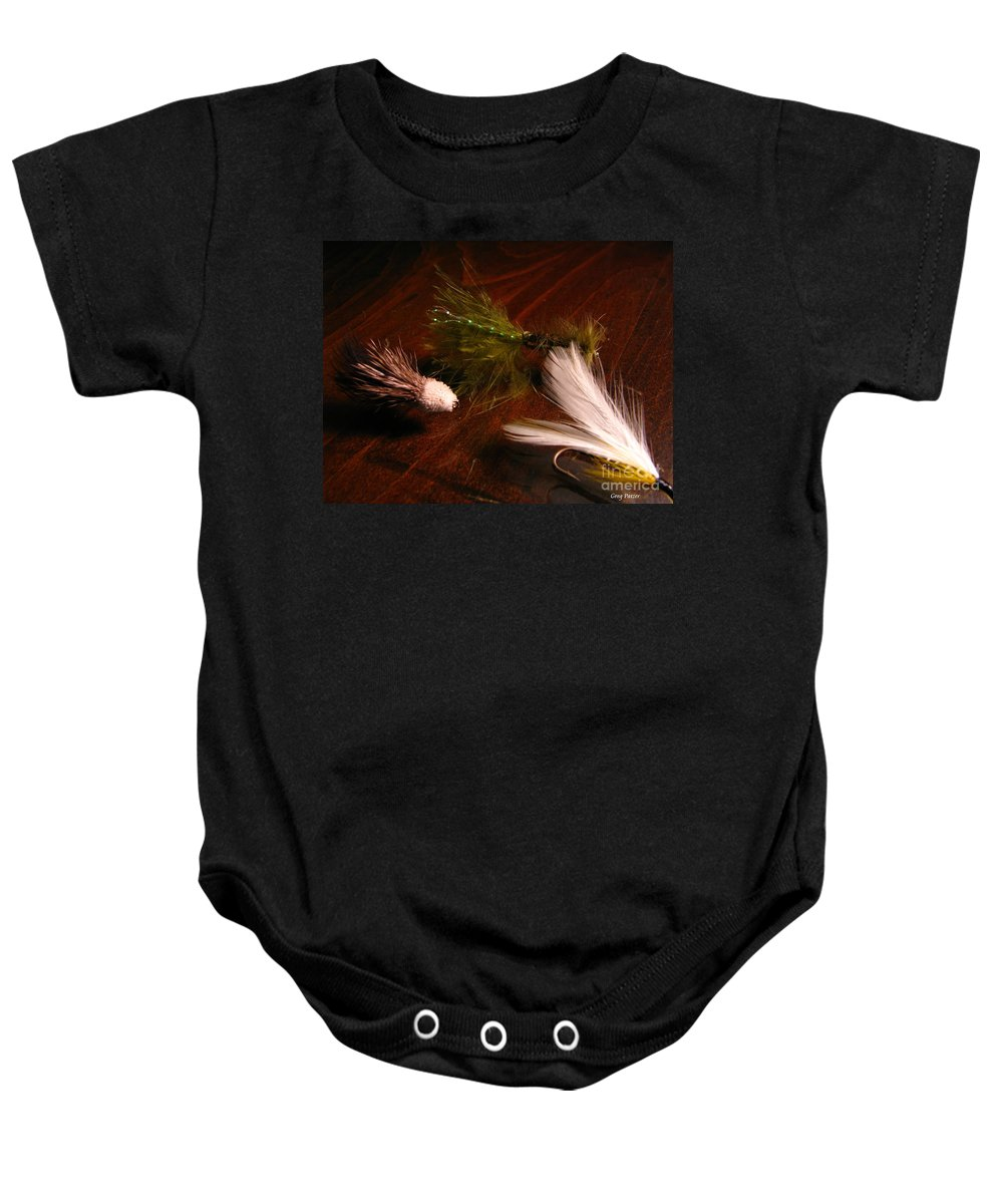 Patzer Baby Onesie featuring the photograph Trout Flys by Greg Patzer