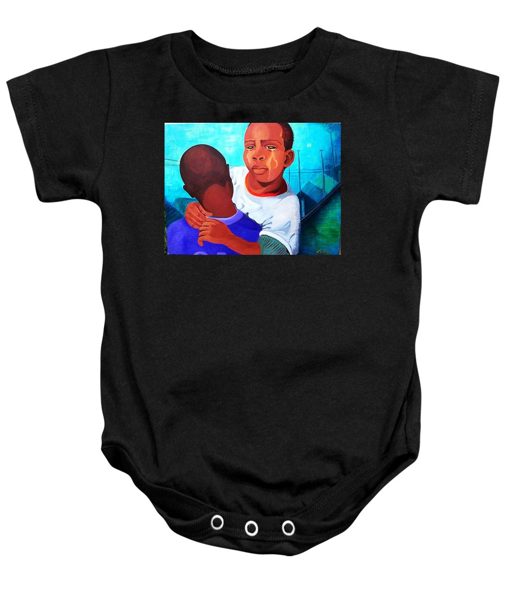 African Art Baby Onesie featuring the painting True Brotherly Love by Kenji Lauren Tanner