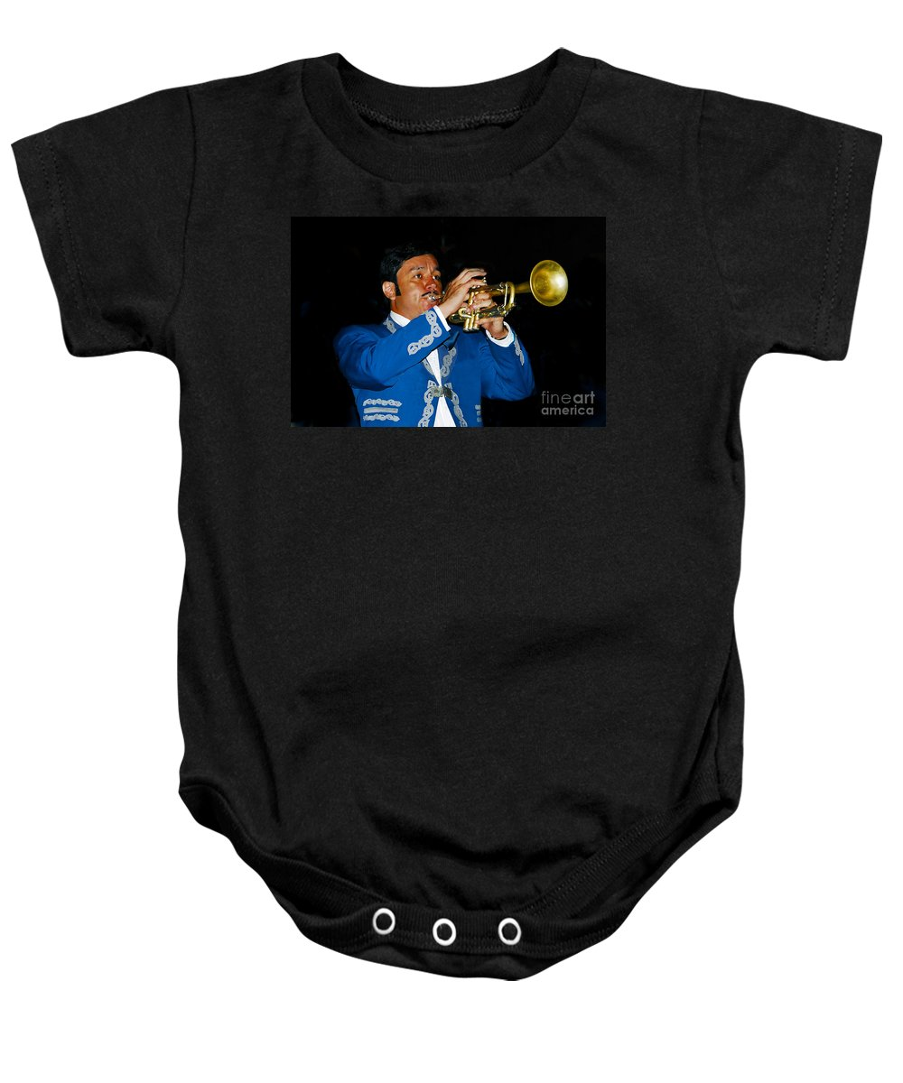 Trumpet5 Baby Onesie featuring the photograph Trumpet Player by David Lee Thompson
