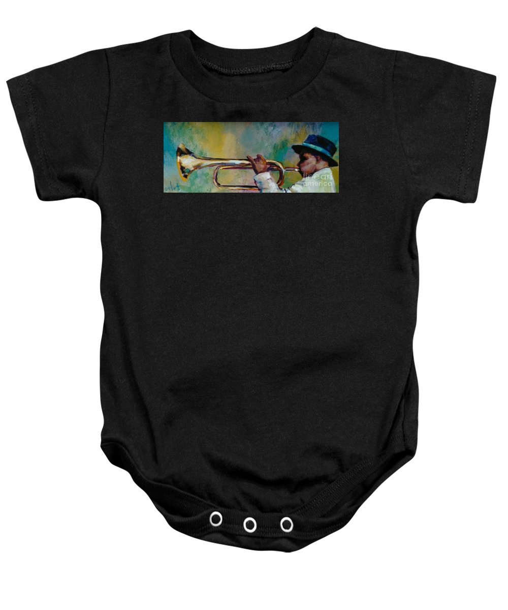 Young Man Baby Onesie featuring the painting Trumpeter by Beverly Boulet