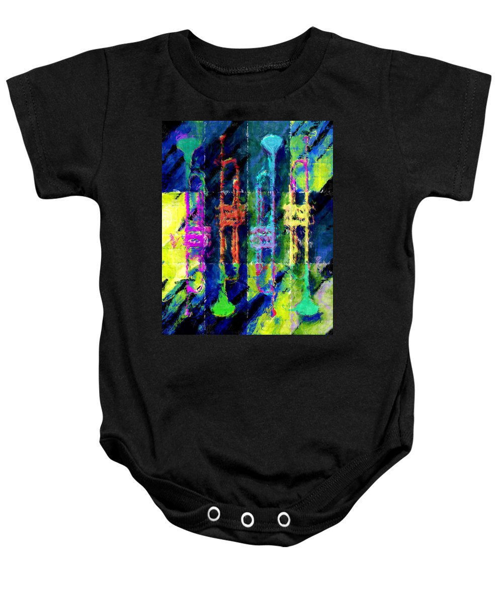 Trumpet Baby Onesie featuring the photograph Trumpets Abstract by David G Paul