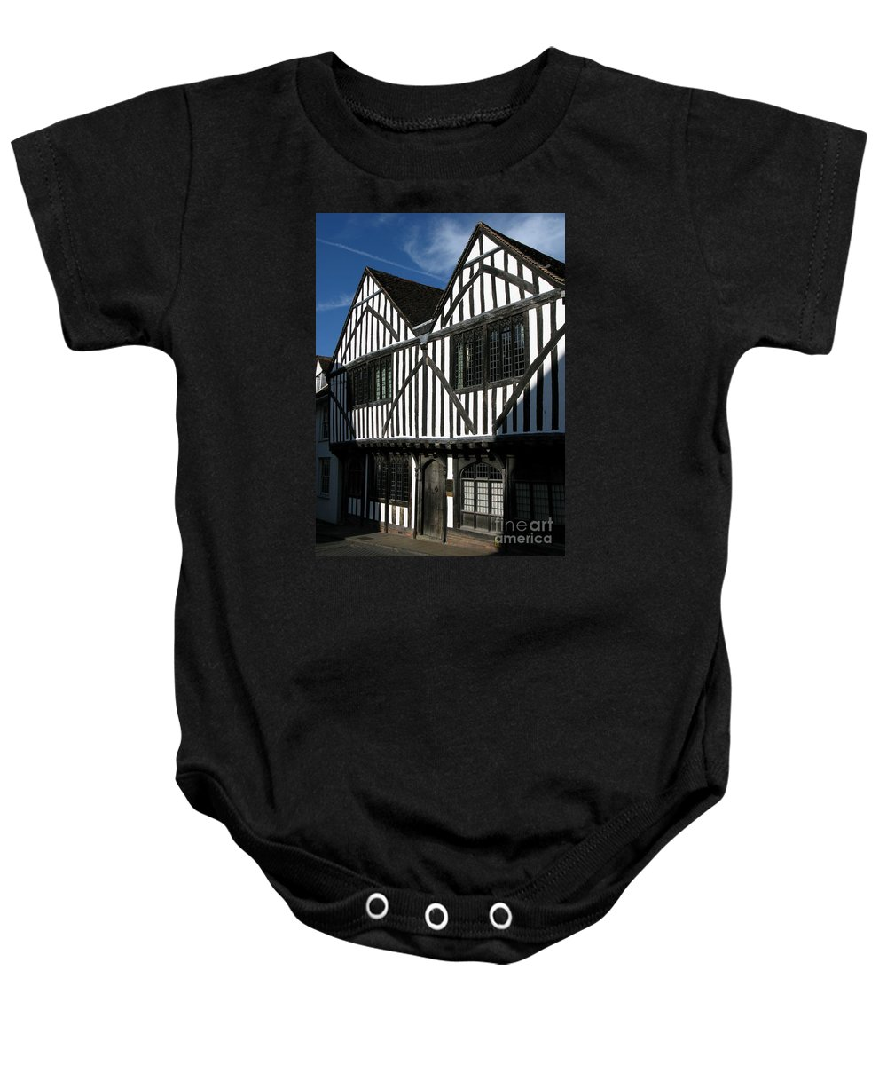 Tudor Baby Onesie featuring the photograph Tudor Timber by Ann Horn