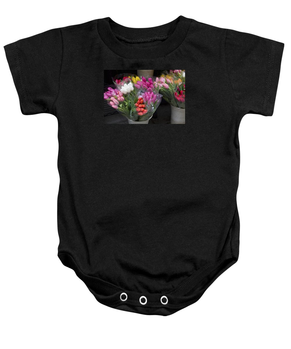 Bunch Baby Onesie featuring the photograph Tulip Bouquets by Diane Macdonald