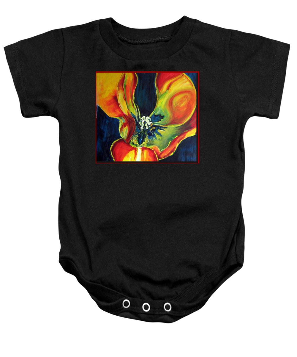Tulip Baby Onesie featuring the painting Tulip by Dragica Micki Fortuna