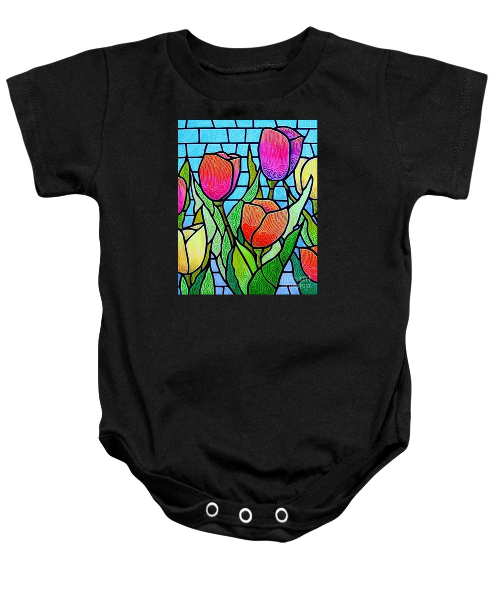 Tulips Baby Onesie featuring the painting Tulip Garden by Jim Harris