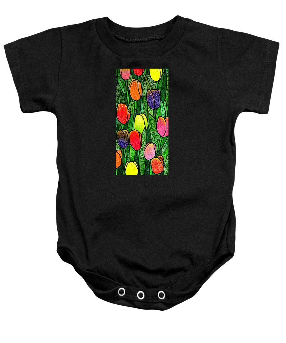 Tulips Baby Onesie featuring the painting Tulip Glory by Jim Harris
