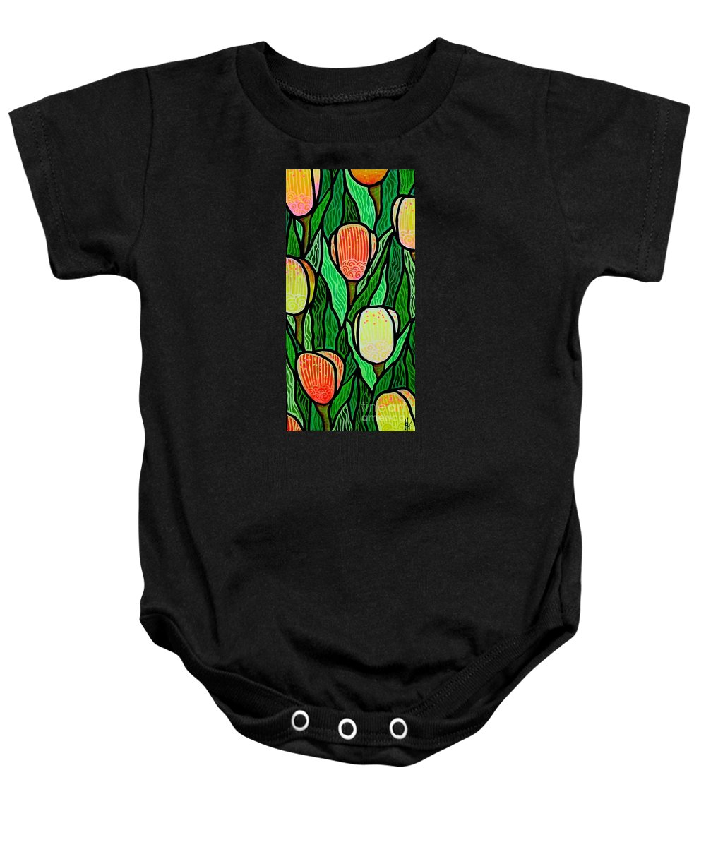 Tulips Baby Onesie featuring the painting Tulip Joy 2 by Jim Harris