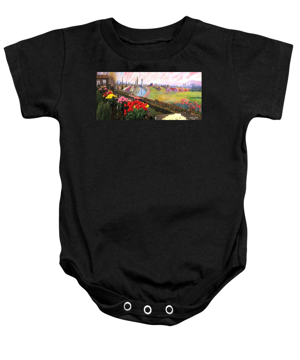 Agriculture Baby Onesie featuring the photograph Tulip Town 21 by Will Borden