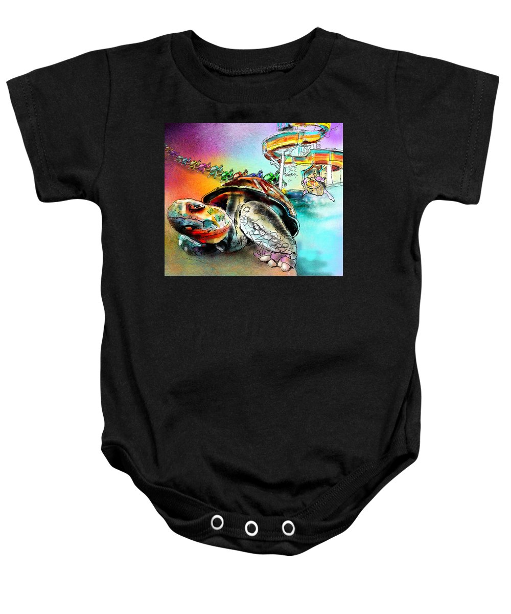 Turtle Baby Onesie featuring the painting Turtle Slide by Miki De Goodaboom