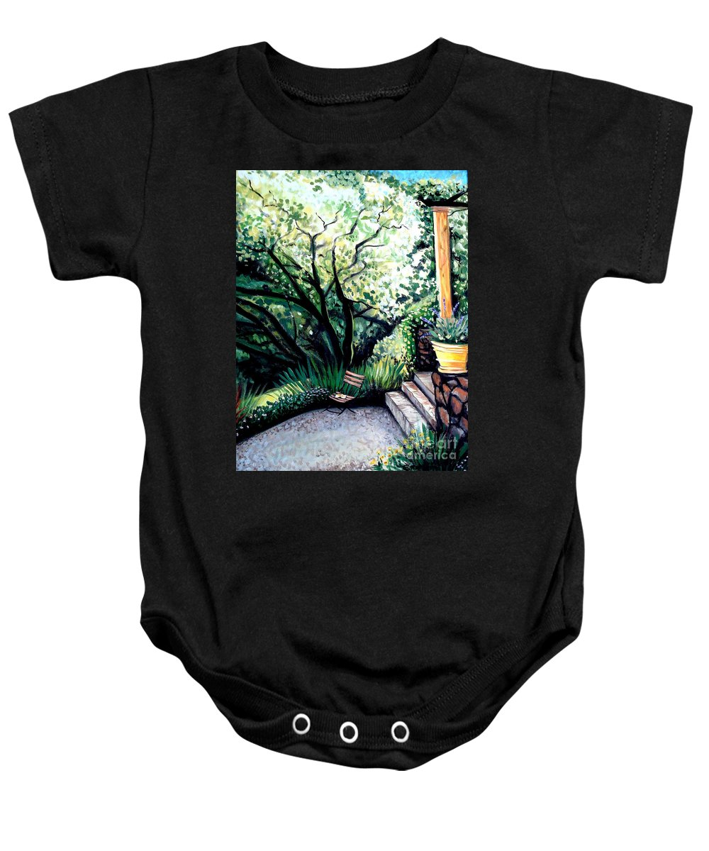 Tuscany Baby Onesie featuring the painting Tuscan Gold by Elizabeth Robinette Tyndall