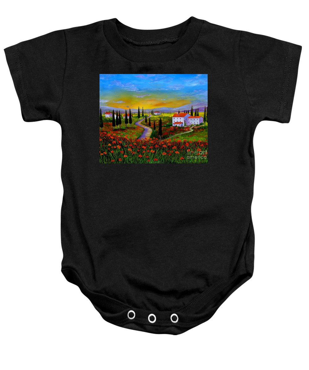 Tuscany Baby Onesie featuring the painting Tuscany Sunset by Inna Montano