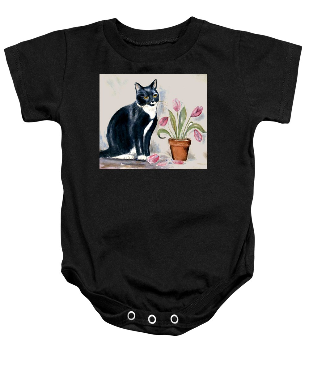 Cat Baby Onesie featuring the painting Tuxedo Cat Sitting By The Pink Tulips by Frances Gillotti