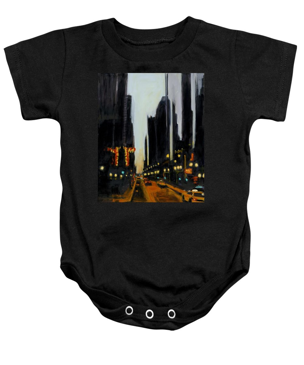 Rob Reeves Baby Onesie featuring the painting Twilight In Chicago by Robert Reeves