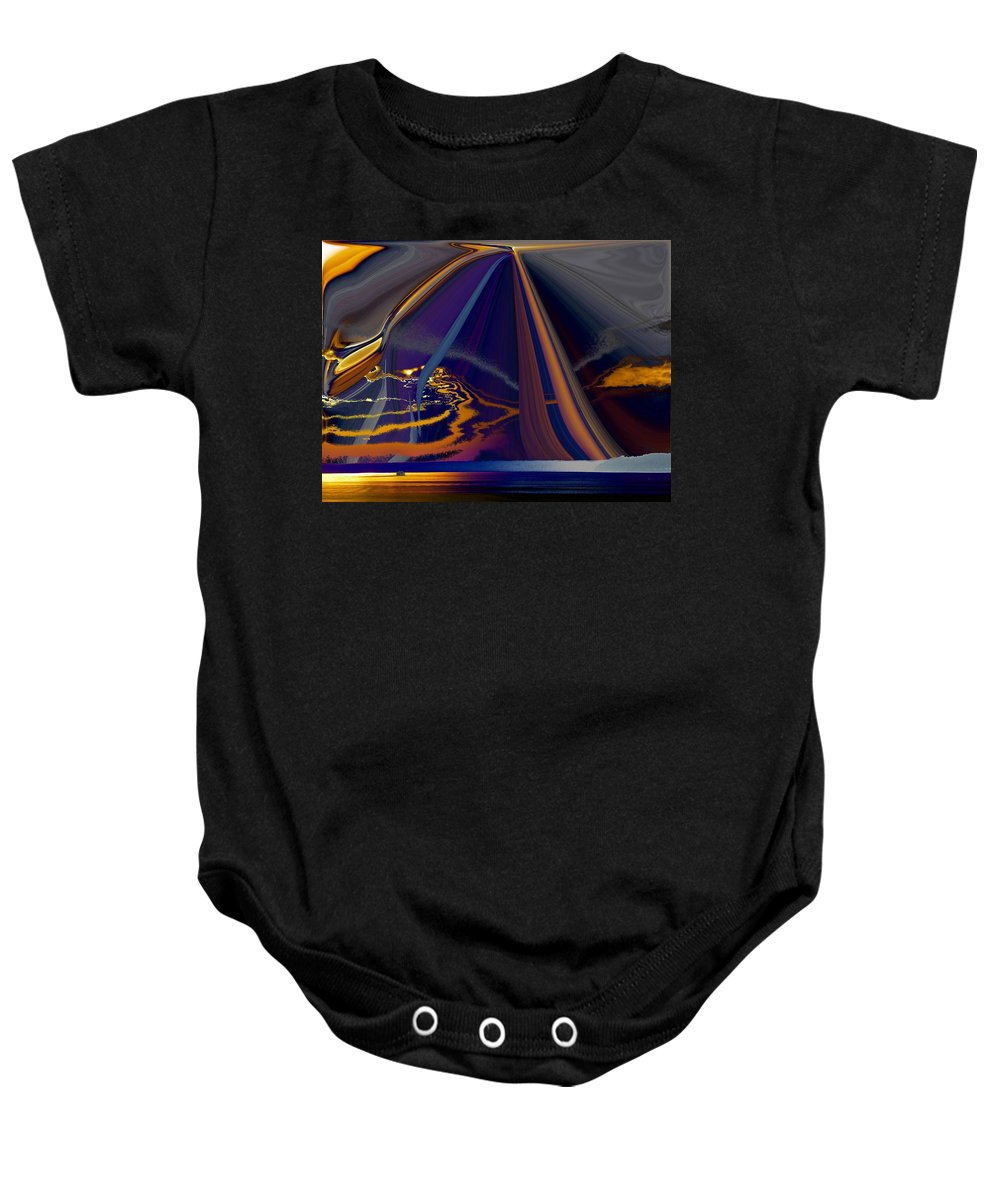 Abstract Baby Onesie featuring the photograph Twilight Journey by Tim Allen