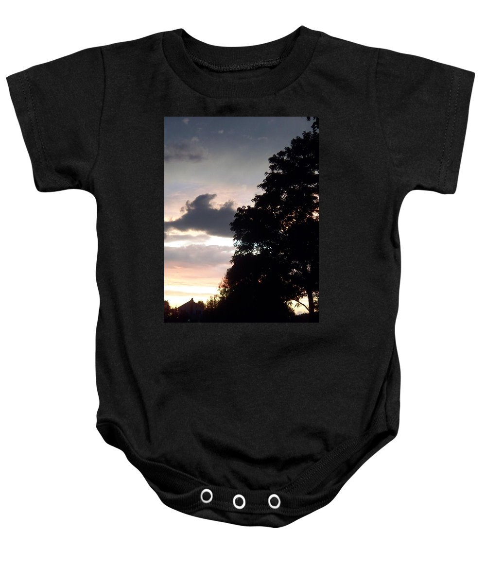 Twilight Baby Onesie featuring the painting Twilight Landscape by Eric Schiabor