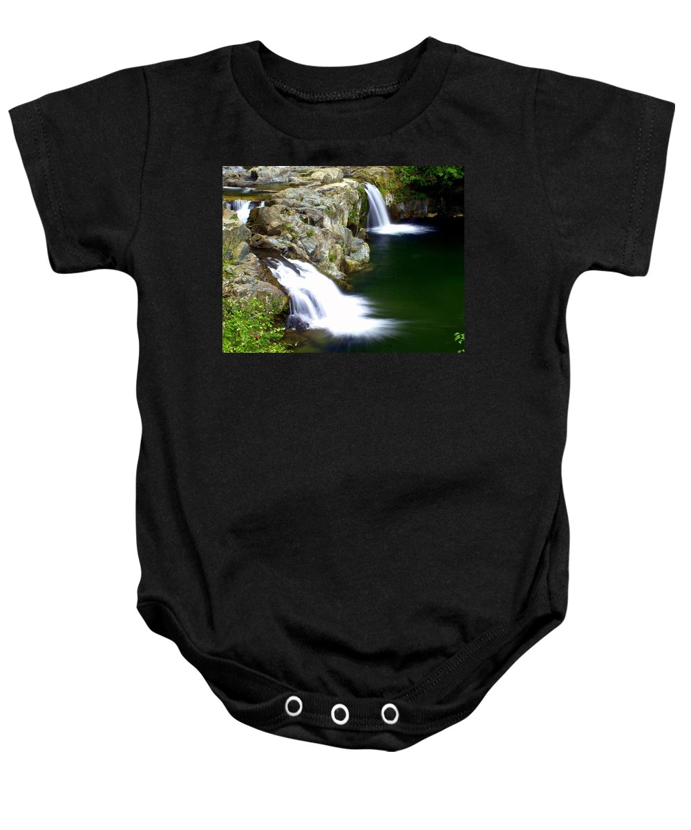 Waterfalls Baby Onesie featuring the photograph Twin Falls 3 by Marty Koch