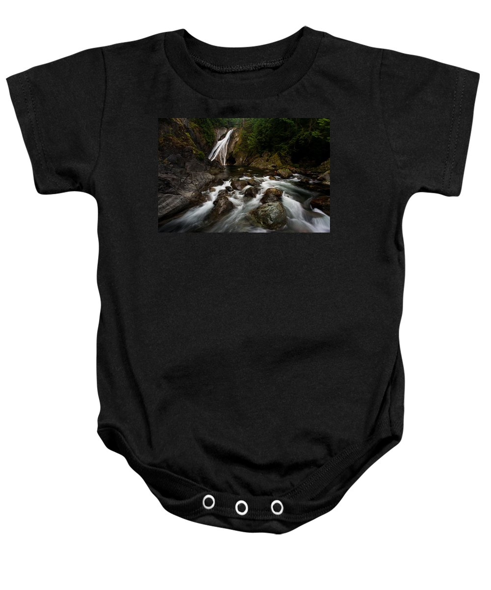 Twin Falls Baby Onesie featuring the photograph Twin Falls Landscape by Mike Reid
