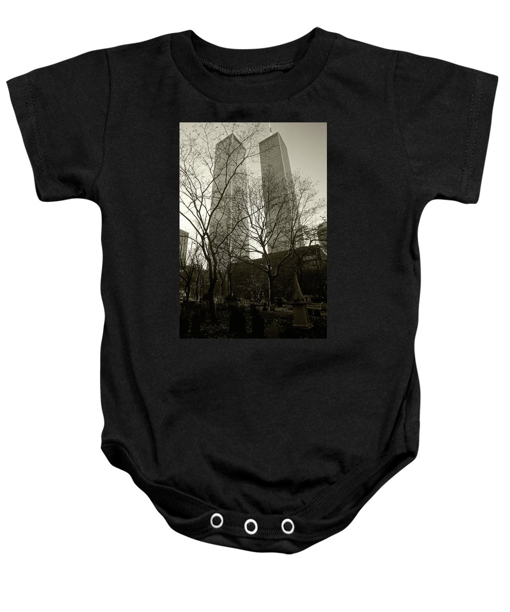 World Trade Center Baby Onesie featuring the photograph Twin Towers by Steve Williams