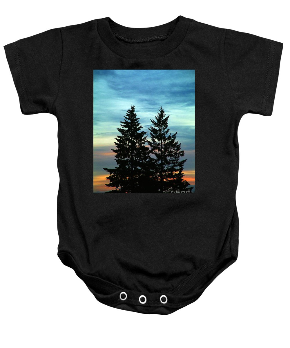 Twin Trees Baby Onesie featuring the photograph Twin Trees by Nick Gustafson