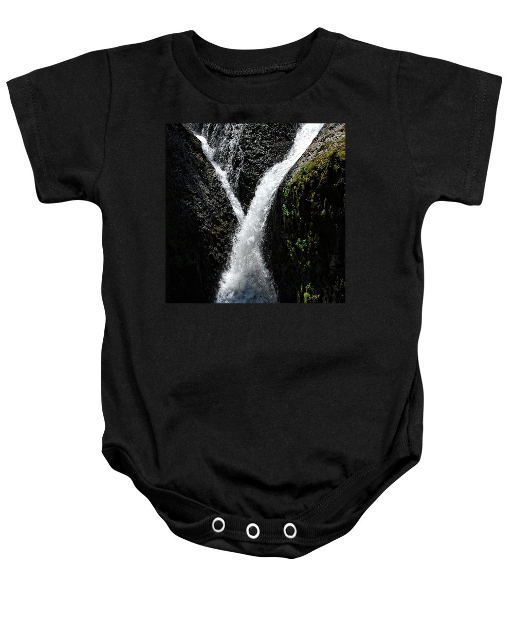 Columbia Gorge Baby Onesie featuring the photograph Twister Falls by Ingrid Smith-Johnsen