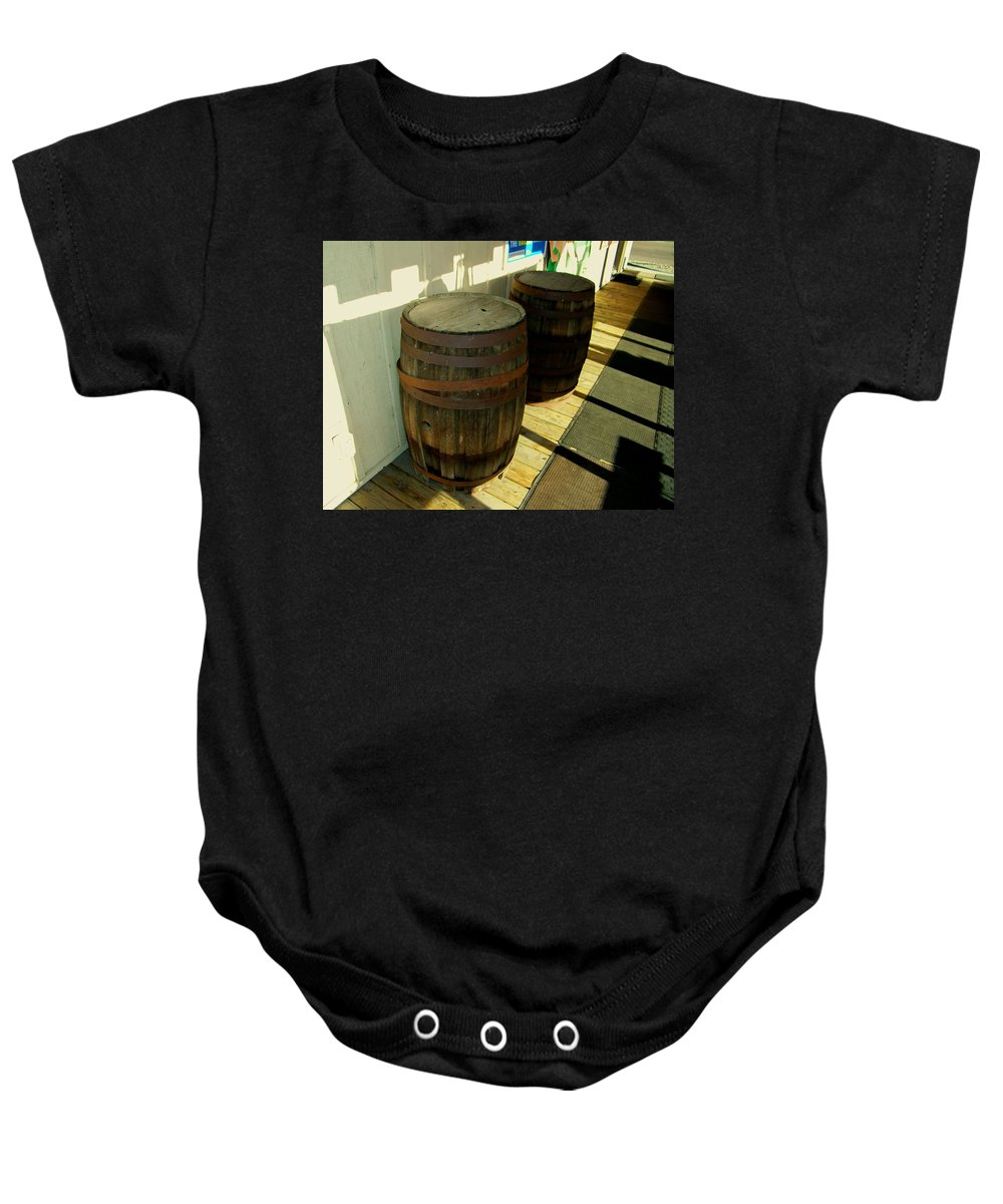 Abstract Baby Onesie featuring the photograph Two Barrels by Lenore Senior