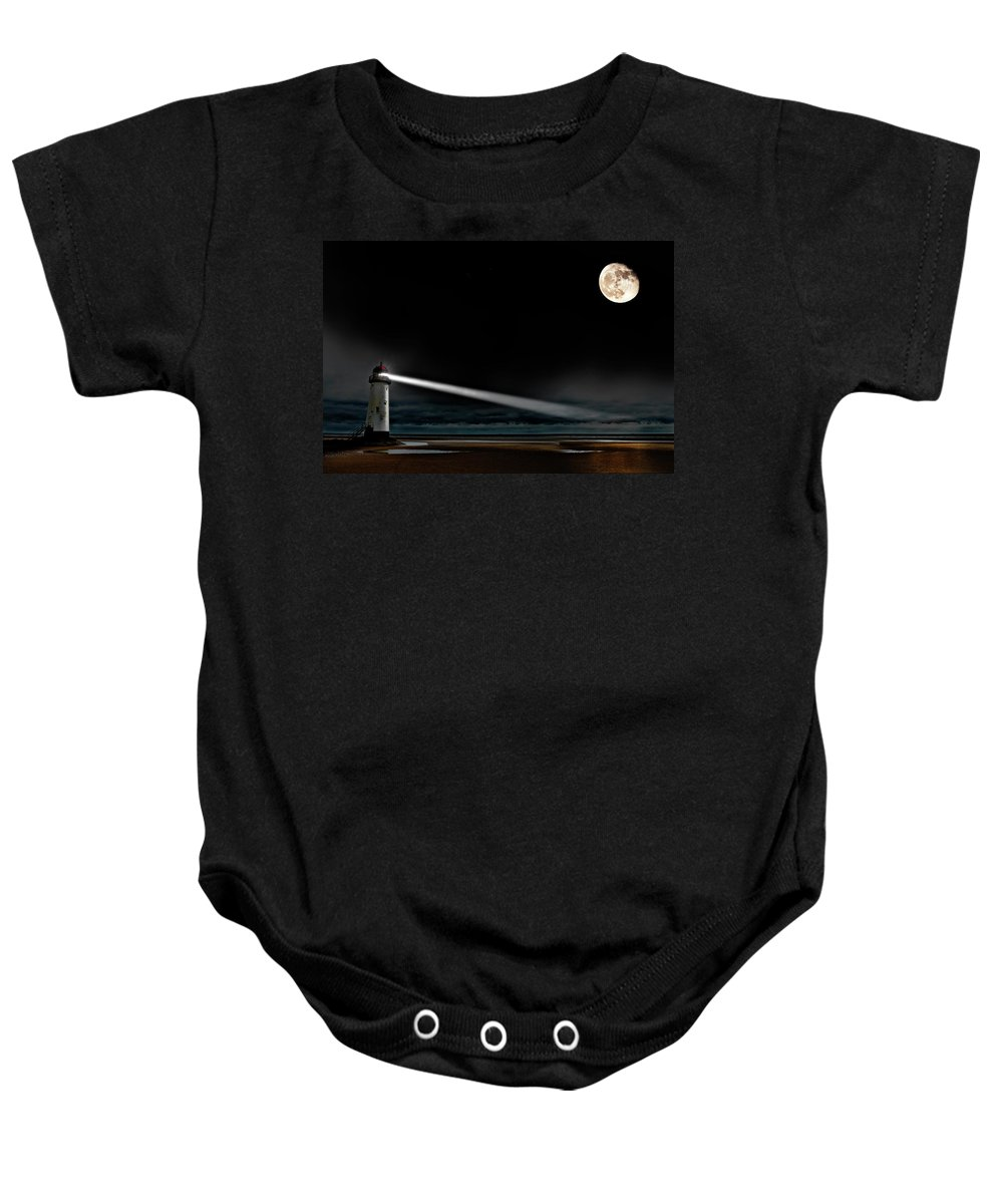 Lighthouse Baby Onesie featuring the photograph Two Guiding Lights by Meirion Matthias