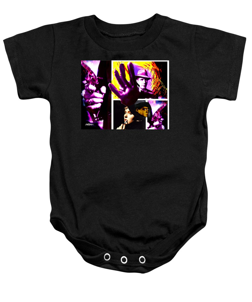 Humphrey Bogart Baby Onesie featuring the digital art Two Guys Two Guns And A Dame by Seth Weaver