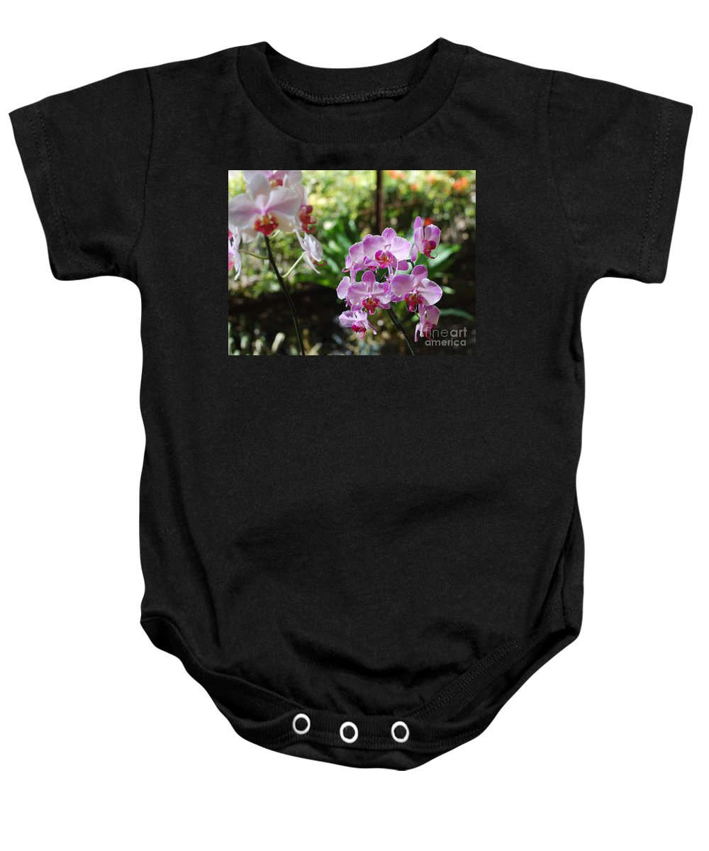 Orchid Baby Onesie featuring the photograph Two Orchid Branches Number One by Heather Kirk