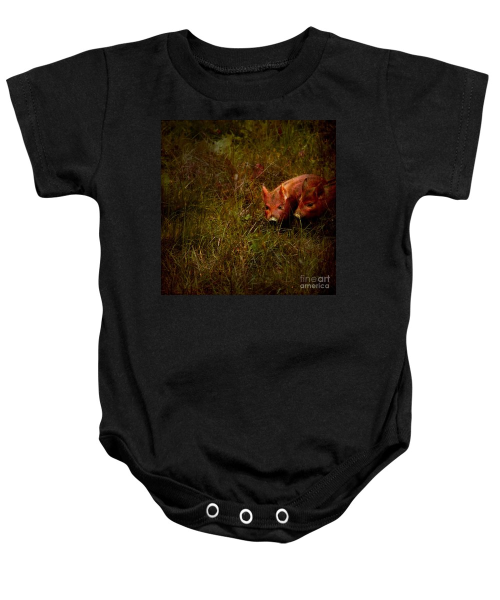 Piglets Baby Onesie featuring the photograph Two Piglets by Angel Ciesniarska