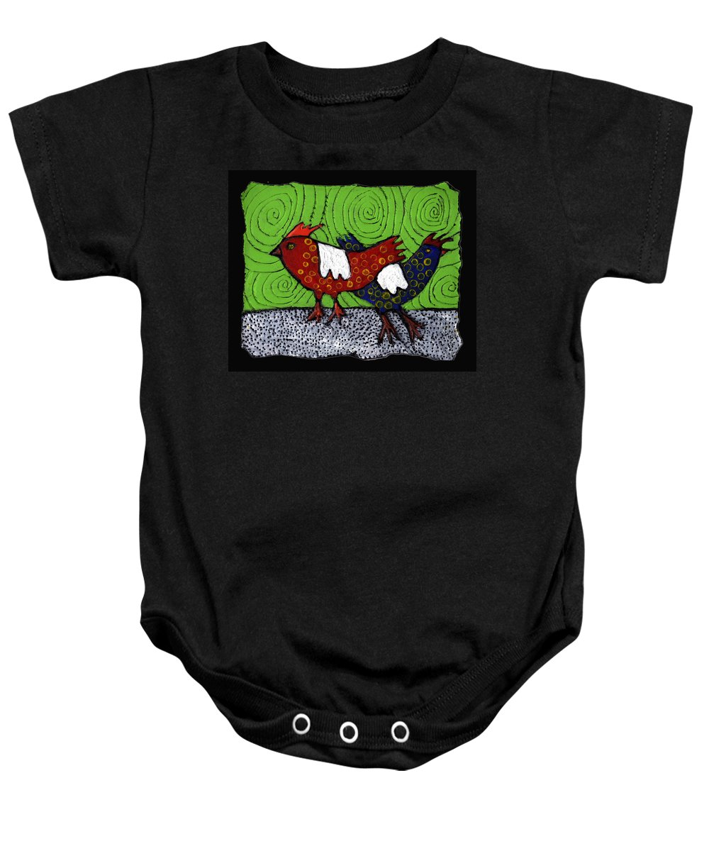 Chickens Baby Onesie featuring the painting Two Roosters by Wayne Potrafka