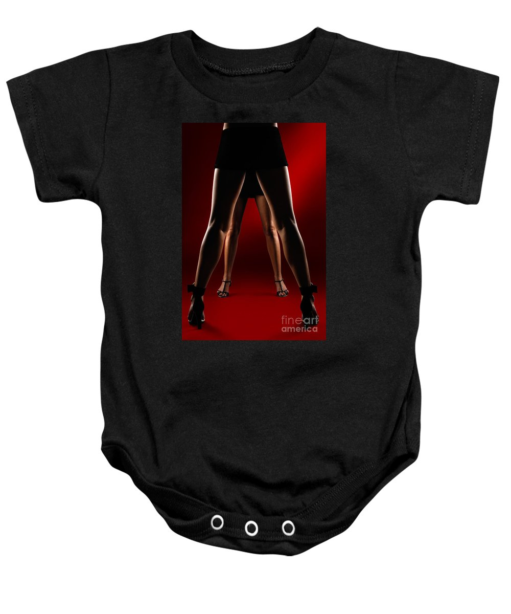 Legs Baby Onesie featuring the photograph Two Women by Oleksiy Maksymenko