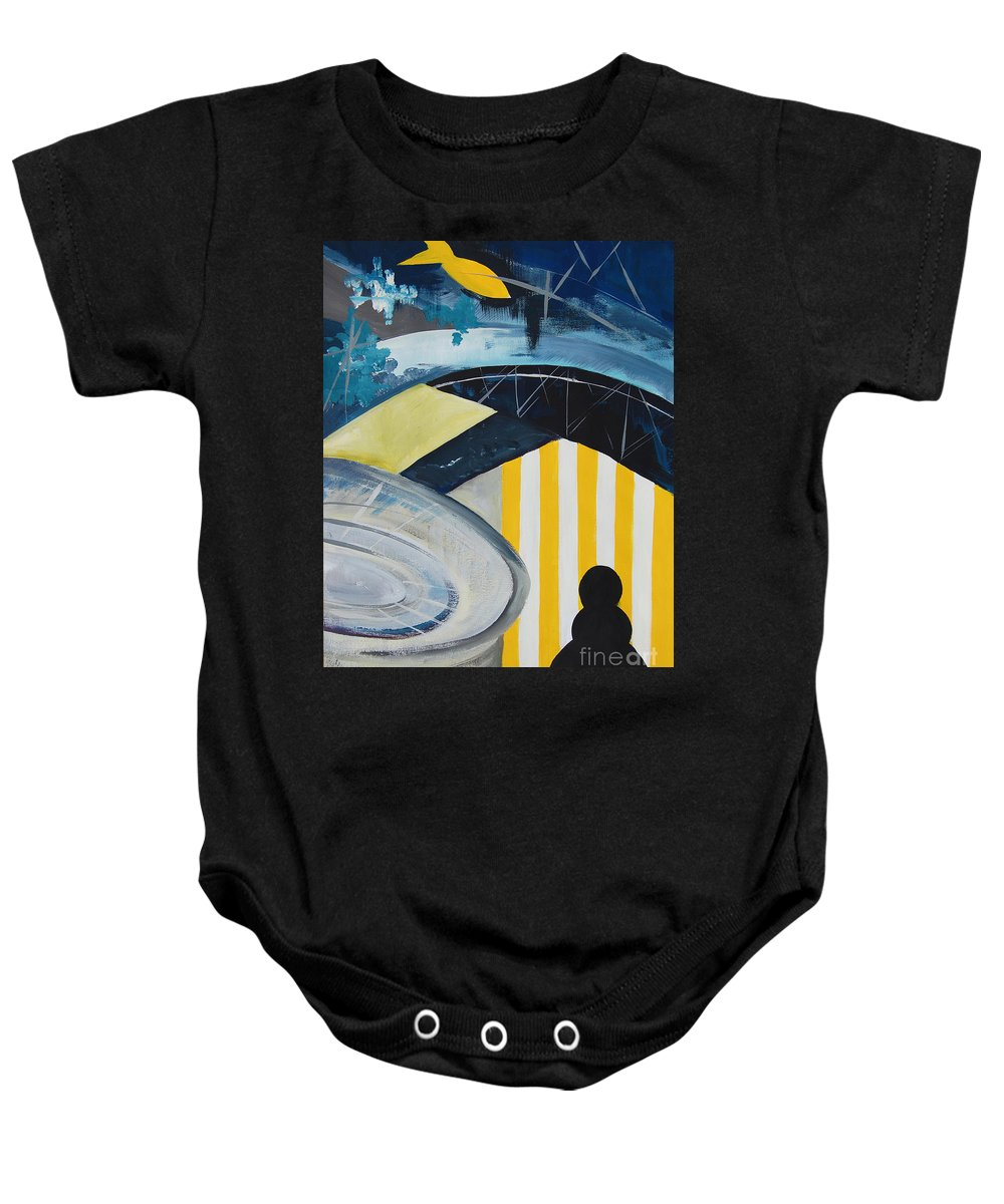 Acrylic Baby Onesie featuring the painting Twos In Porto #2 by Eszter Benyo