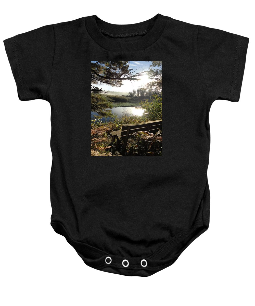 Rivers Baby Onesie featuring the photograph U R Here - On The Bench by Sue Duda