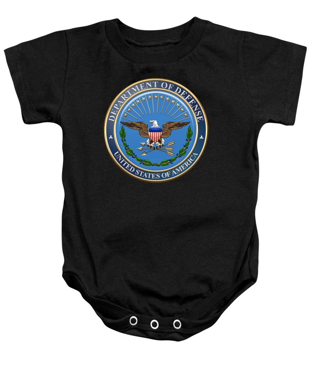 'military Insignia & Heraldry 3d' Collection By Serge Averbukh Baby Onesie featuring the digital art U. S. Department Of Defense - D O D Emblem Over Black Velvet by Serge Averbukh