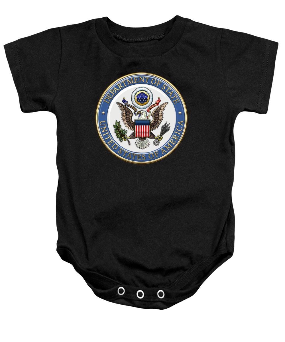 'military Insignia & Heraldry 3d' Collection By Serge Averbukh Baby Onesie featuring the digital art U. S. Department Of State - Dos Emblem Over Black Velvet by Serge Averbukh