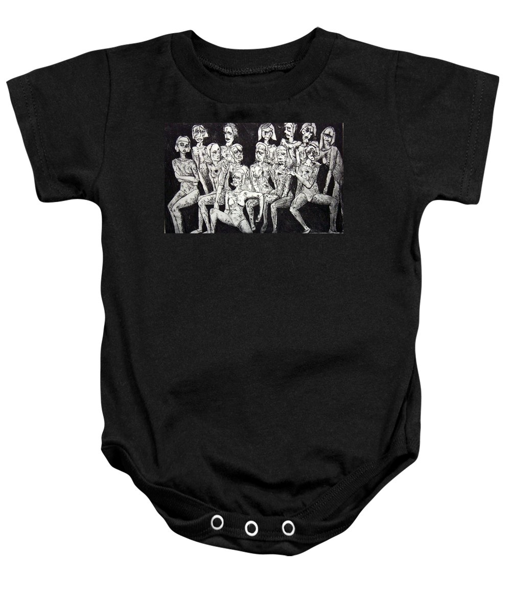 Etching Baby Onesie featuring the print Ugly Girls by Thomas Valentine