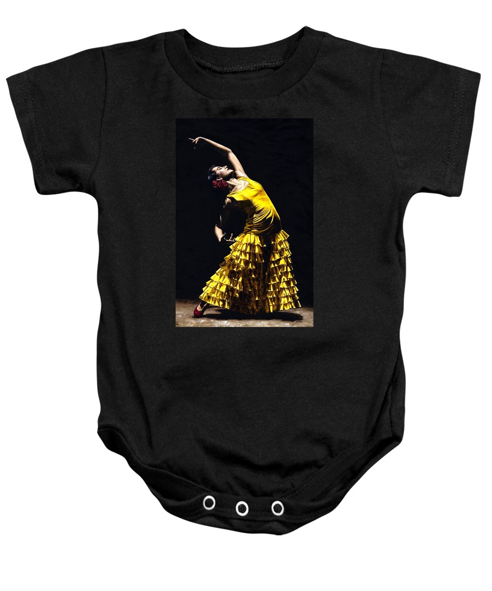 Flamenco Baby Onesie featuring the painting Un Momento Intenso Del Flamenco by Richard Young