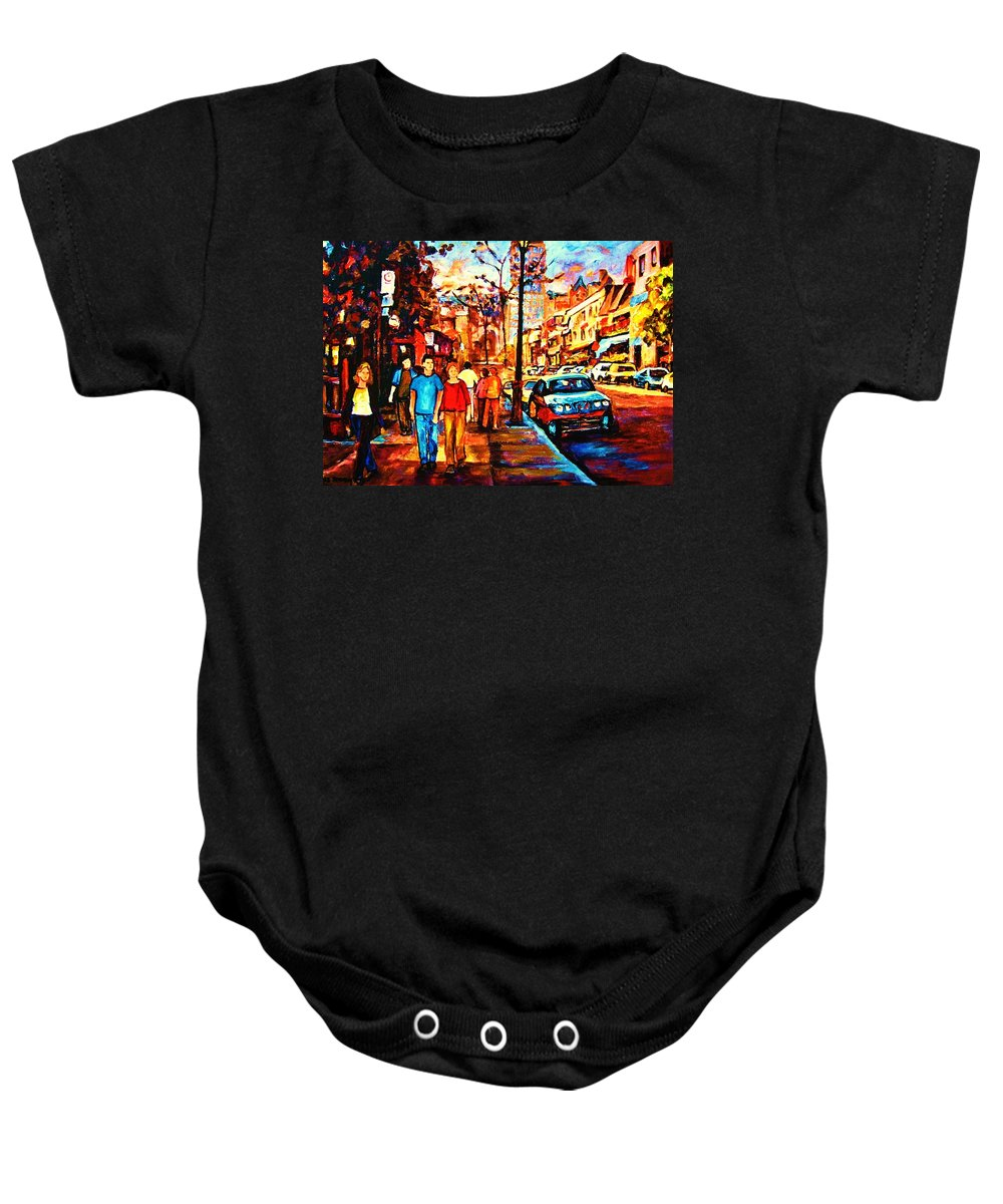 Montrealstreetscene Baby Onesie featuring the painting Under A Crescent Moon by Carole Spandau