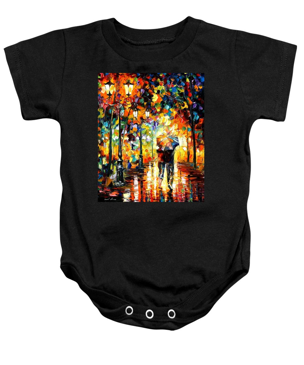Afremov Baby Onesie featuring the painting Under One Umbrella by Leonid Afremov