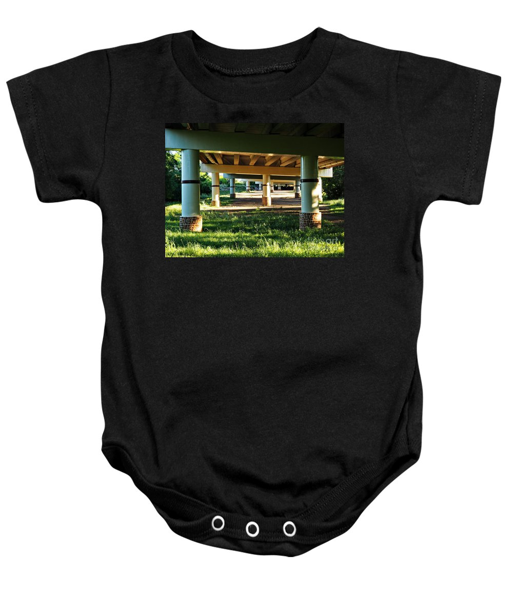 Bridge Baby Onesie featuring the photograph Under The Bridge by Gary Richards