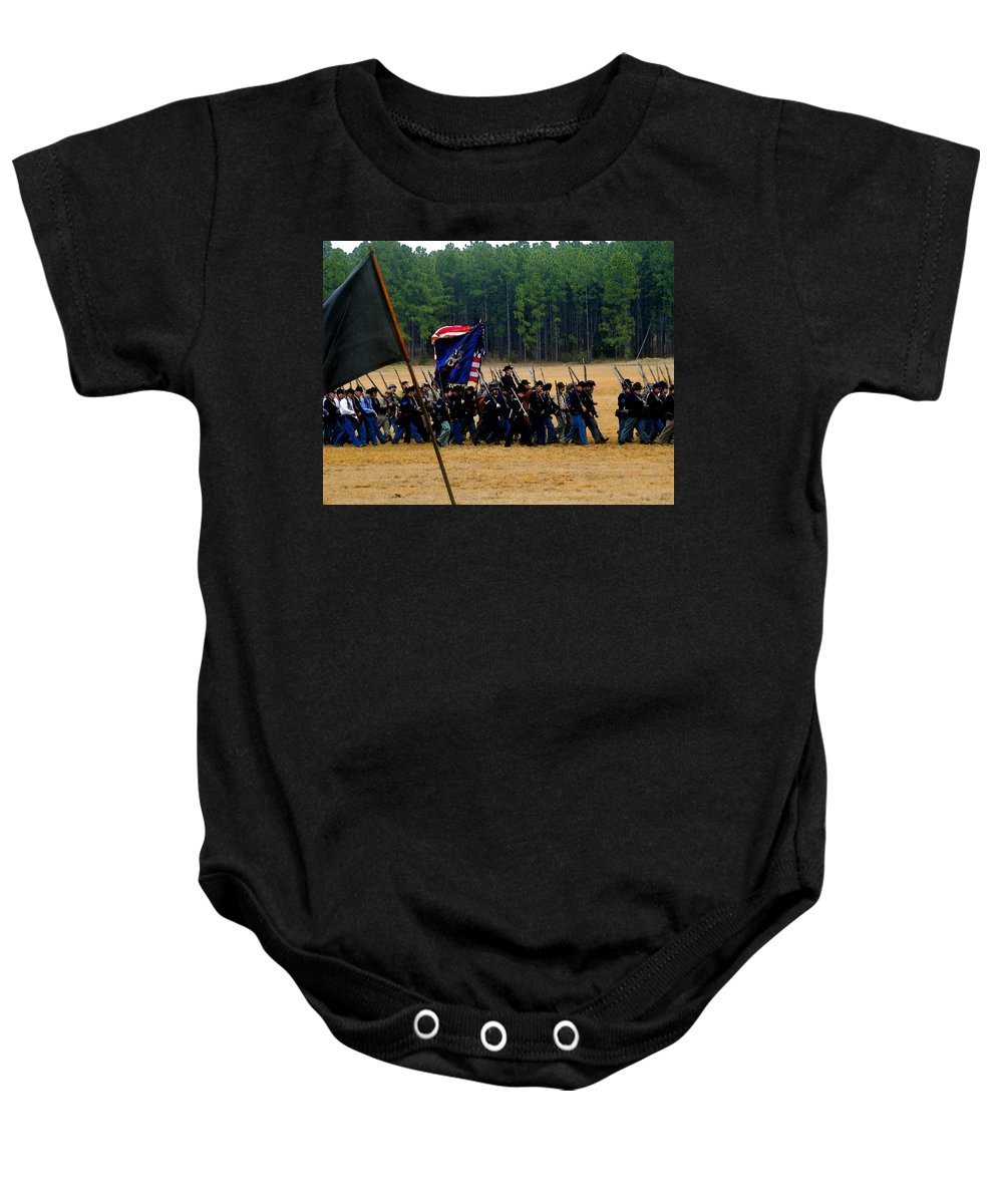 Civil War Baby Onesie featuring the painting Union On The Move by David Lee Thompson